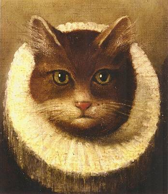 Cat In A Ruff Art Print by Vintage Art