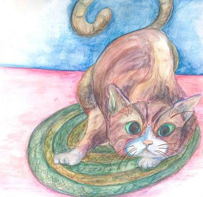 Cat In Action Print by Cherie Sexsmith