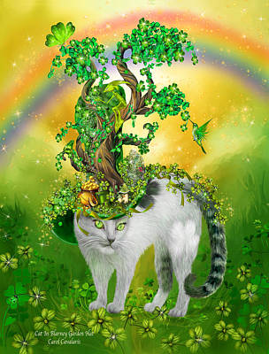 Rainbow Art Mixed Media - Cat In Blarney Garden Hat by Carol Cavalaris
