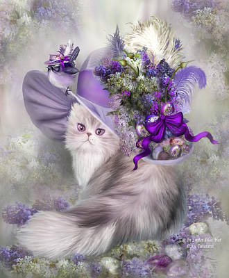 Whimsical Mixed Media - Cat In Easter Lilac Hat by Carol Cavalaris