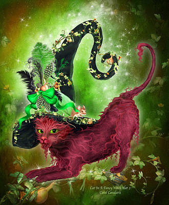Mixed Media - Cat In Fancy Witch Hat 2 by Carol Cavalaris