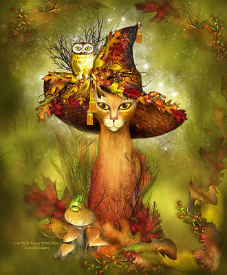 Autumn Art Mixed Media - Cat In Fancy Witch Hat 3 by Carol Cavalaris