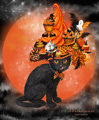 Painting - Cat In Halloween Cupcake Hat by Carol Cavalaris