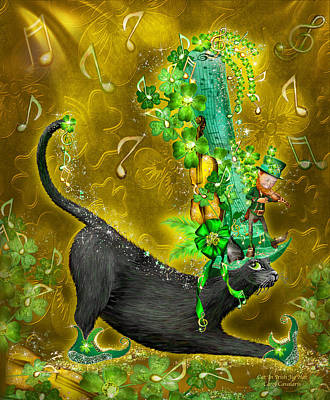 Cat In Irish Jig Hat Art Print by Carol Cavalaris