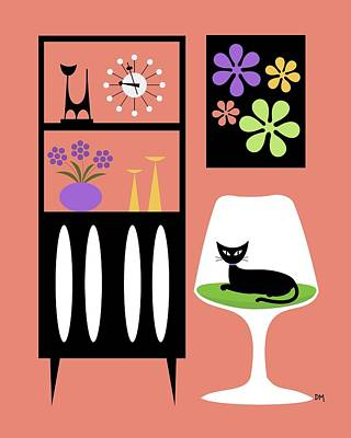 Tulip Chair Digital Art - Cat In Pink Room by Donna Mibus