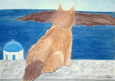 Wall Art - Painting - Cat In Santorini by Cybele Chaves