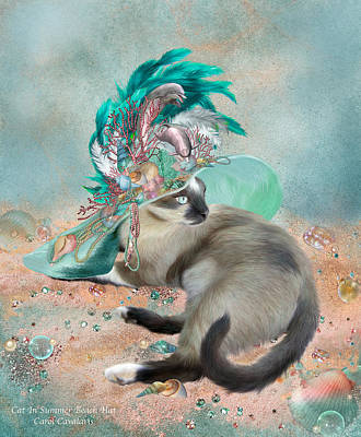 Mixed Media - Cat In Summer Beach Hat by Carol Cavalaris