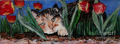 Cat In The Grass Art Print by Cathy Weaver