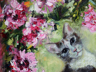 Cat In The Peonies  Art Print