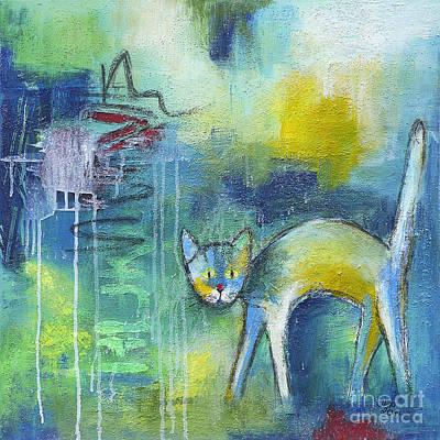 Painting - Cat In The Rain by Jutta Maria Pusl
