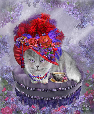 Mixed Media - Cat In The Red Hat by Carol Cavalaris