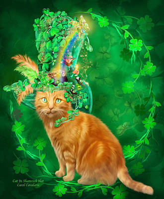Cat In The Shamrock Hat Art Print by Carol Cavalaris