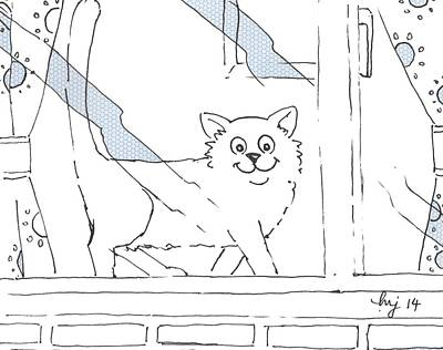 Drawing - Cat In The Window Cartoon by Mike Jory