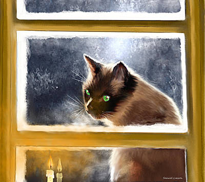 Cat In The Window Art Print