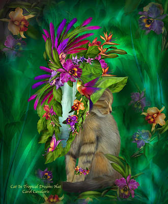 Mixed Media - Cat In Tropical Dreams Hat by Carol Cavalaris