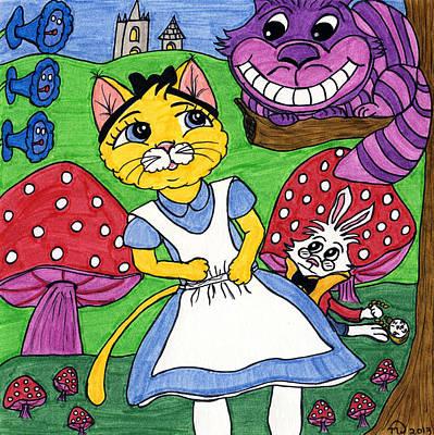 Alice In Wonderland Artist Painting - Cat In Wonderland by Tambra Wilcox