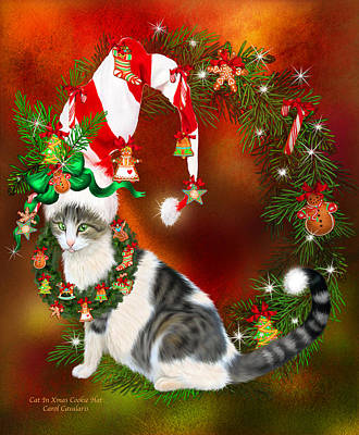 Mixed Media - Cat In Xmas Cookie Hat by Carol Cavalaris