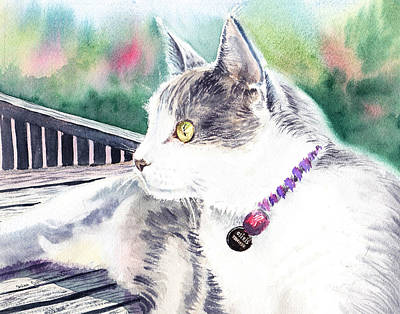 Watercolor Pet Portraits Painting - Cat by Irina Sztukowski