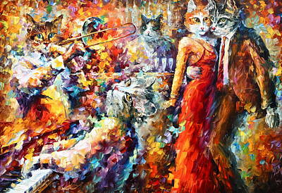 Piano Painting - Cat Jazz Club by Leonid Afremov