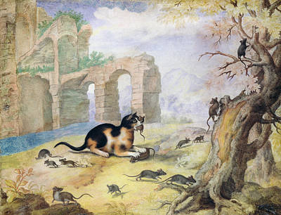 Cat Killing Mice In A Landscape Pen & Ink With Wash On Paper Art Print by Gottfried Mind or Mindt