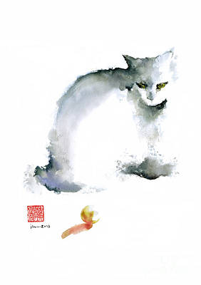 Handmade Painting - Cat Kitten Blue Animal Grey Ball Cute Fun Animals Watercolor Painting by Johana Szmerdt