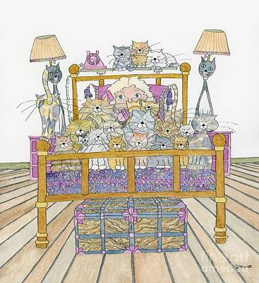 Cat Lady - In Bed Original by Mag Pringle Gire