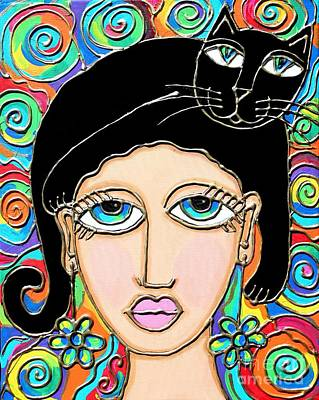 Painting - Cat Lady With Black Hair by Cynthia Snyder
