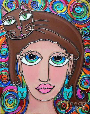 Painting - Cat Lady With Brown Hair by Cynthia Snyder