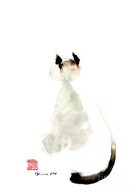 Japanese-ink- Color Painting - Cat Little Kittlen Syjamese White Cappuccino Black Grey Brown Meow Watercolor Painting by Johana Szmerdt