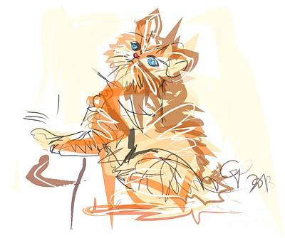 Kitten Digital Art - Cat Little Tiger Kitty by Go Van Kampen