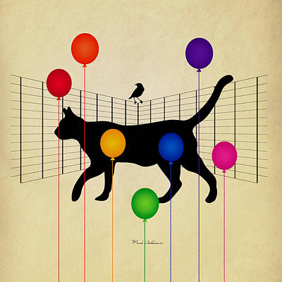 Geometric Animal Digital Art - cat by Mark Ashkenazi