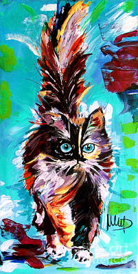 Colorful Cat Painting - CAT by Melanie D