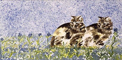 Tabby Cat Photograph - Cat Mint Wc On Paper by Suzi Kennett