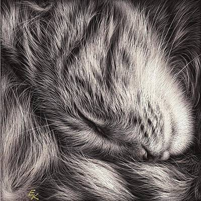 Cat Nap Art Print by Elena Kolotusha