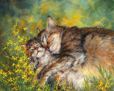 Walsh Painting - Cat Nappin' by Donna  Hillman Walsh