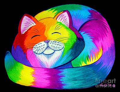 Animals Drawings - Cat Napping 2 by Nick Gustafson