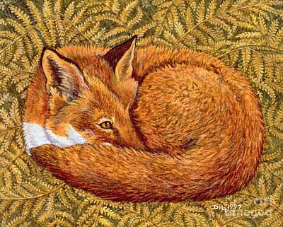 Foxes Painting - Cat Napping by Ditz