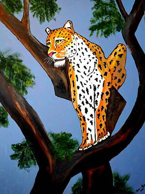 Cat On A Hot Wood Tree Art Print