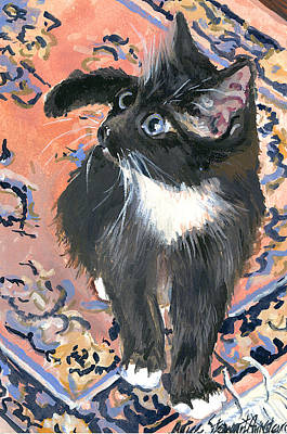 City Scape Painting - Cat On A Rug by Alice Grimsley