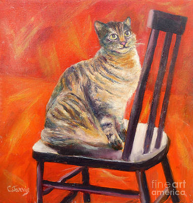 Painting - Cat On Black Chair by Carolyn Jarvis