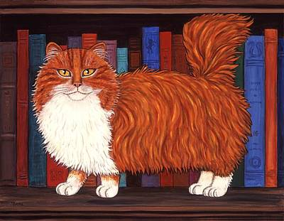 Cat On Book Shelf Art Print by Linda Mears