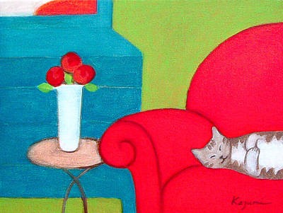Painting - Cat On Chair by Kazumi Whitemoon