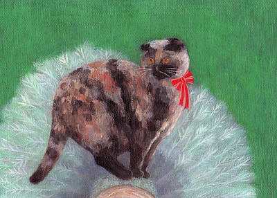 Tortie Painting - Cat On Christmas Tree by Kazumi Whitemoon