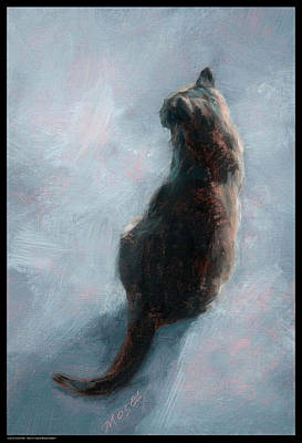 Cat On Concrete Art Print by Diana Moses Botkin