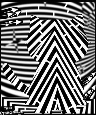 Optical Illusion Maze Digital Art - Cat On Fence Maze Op Art by Yanito Freminoshi