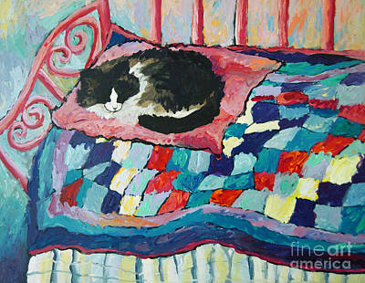 Bed Quilts Painting - Cat On Pink  by Peggy Johnson