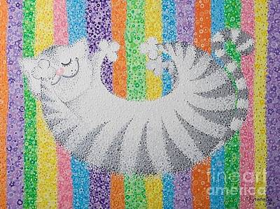 Cat On Rainbow Art Print by Grass Hopper
