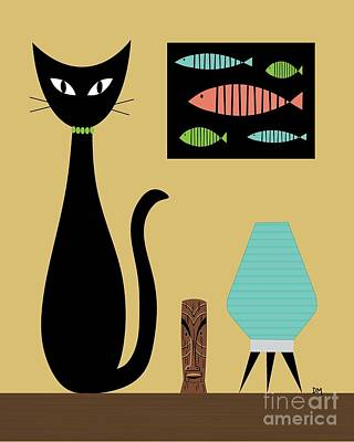Contemporary Abstract Digital Art - Cat On Tabletop Turquoise Lamp by Donna Mibus