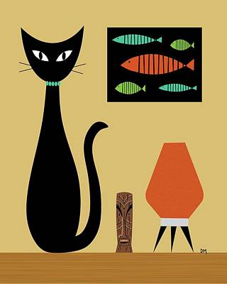 Eames Digital Art - Cat On Tabletop by Donna Mibus