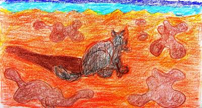 Drawing - Cat On The Beach by Anita Dale Livaditis